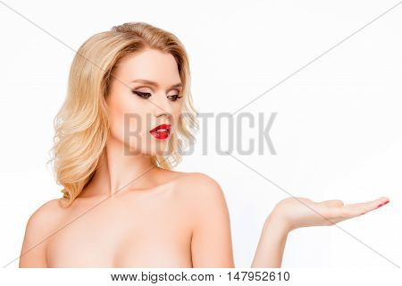Young Pretty Blonde Making Presentation Of New Product