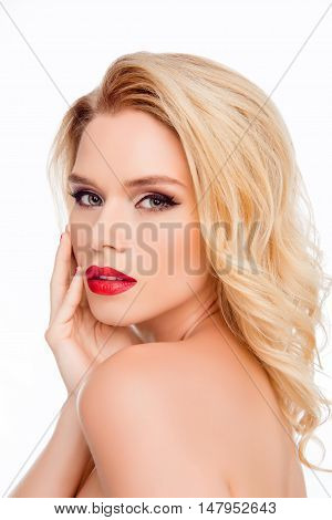 Portrait Of Glamour Sexy Pretty Blonde Touching Her Face