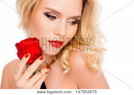 Portrait Of Sensual Attractive Woman With Red Rose In Her Hand