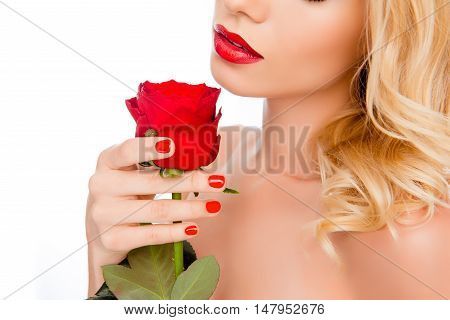 Close Up Portrait Of Young Woman With Red Lips Holding Rose