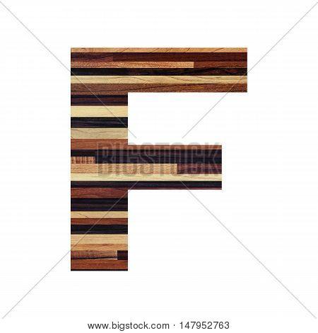 English alphabet with vintage wood texture isolated on white background.