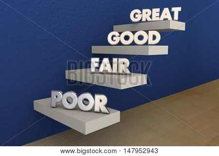 Poor Fair Good Great Grades Evaluation Steps 3d Illustration