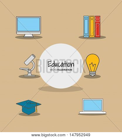 flat design education and academia related icons emblem vector illustration