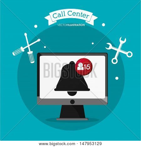 Computer and bell icon. Call center and technical service theme. Colorful design. Vector illustration