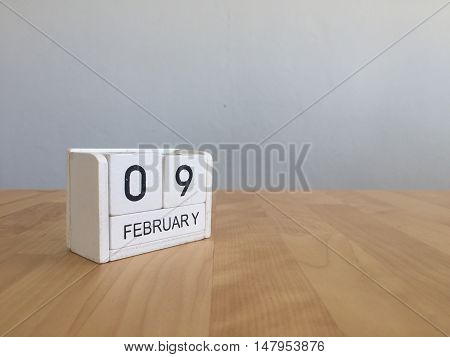 February 9Th.february 9 White Wooden Calendar On Vintage Wood Abstract Background.winter Time. Copys