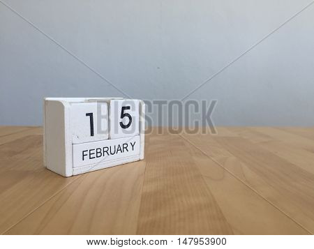 February 15Th.february 15 White Wooden Calendar On Vintage Wood Abstract Background.winter Time. Cop