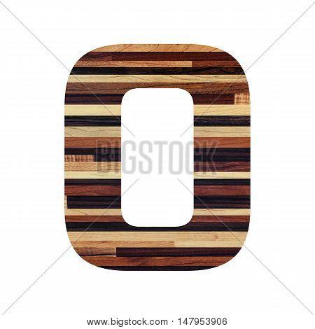 Number 0 (zero) with vintage wood texture background.