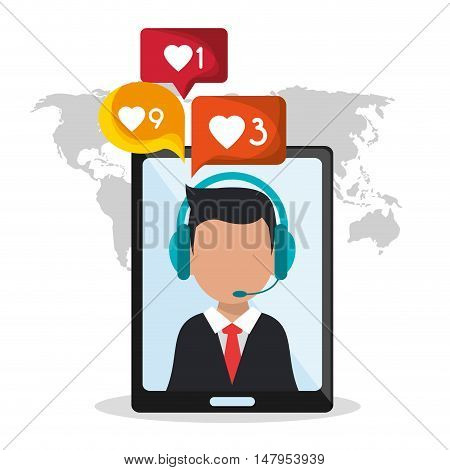 Opeartor man with headphone and smartphone icon. Call center and technical service theme. Colorful design. Vector illustration