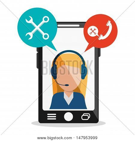 Opeartor woman with headphone and smartphone icon. Call center and technical service theme. Colorful design. Vector illustration