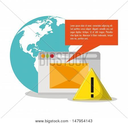 Planet bubble alarm and envelope icon. Email mail message communication and technology theme. Colorful design. Vector illustration
