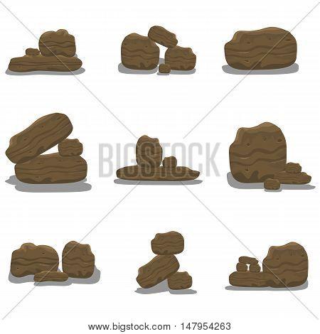 Rock stone cartoon of vector art illustration