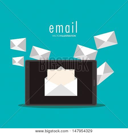 Tablet and envelopes icon. Email mail message communication and technology theme. Colorful design. Vector illustration