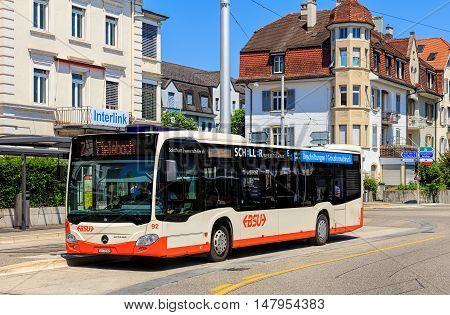 Solothurn, Swizerland - 10 July, 2016: a Mercedes-Benz Citaro bus on Bahnhofplatz square. Mercedes-Benz Citaro is a single-deck bus manufactured by Mercedes-Benz/EvoBus, introduced in 1997.
