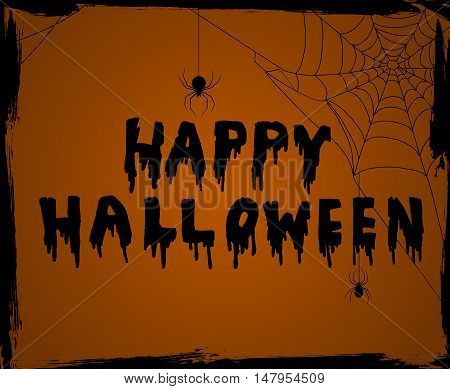 Halloween vector background greeting card on orange