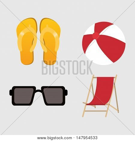 Glasses sandals ball and chair icon. Summer holiday and vacations theme. Colorful design. Vector illustration
