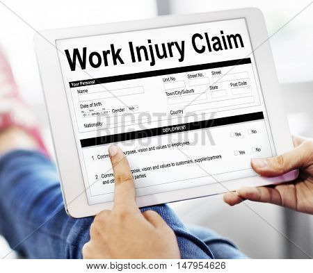 Work Injury Claim Insurance Concept