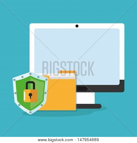 Computer file and padlock icon. Cyber security system and media theme. Colorful design. Vector illustration