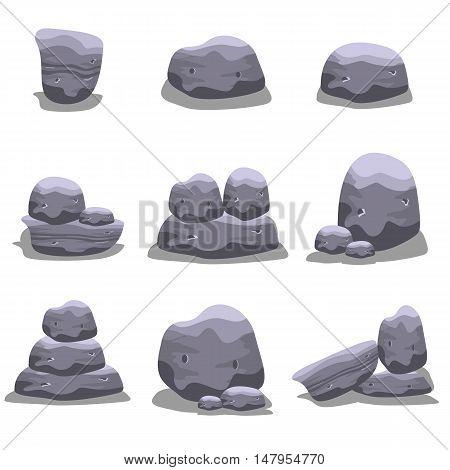 Rock element set vector art collection stock