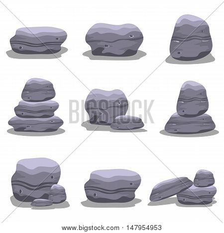 Rock set element collection vector art illustration