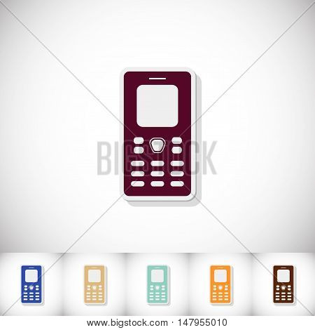 Mobile phone. Flat sticker with shadow on white background. Vector illustration