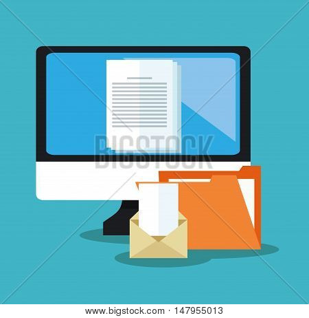 File document and computer icon. Archive office and technology theme. Colorful design. Vector illustration
