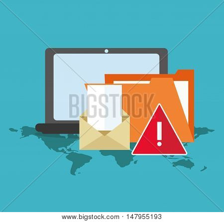 Laptop file and envelope icon. Cyber security system and media theme. Colorful design. Vector illustration