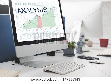 Analysis Graphs Business Marketing Goals concept