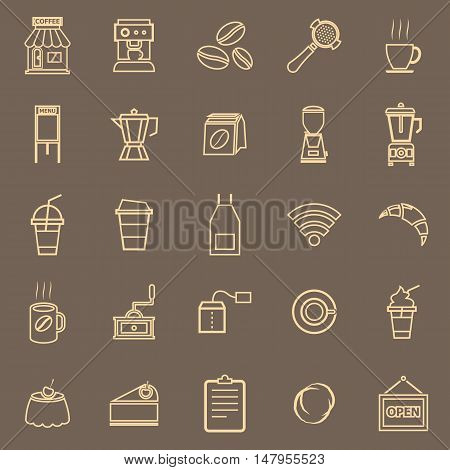 Coffee shop line color icons on brown background, stock vector