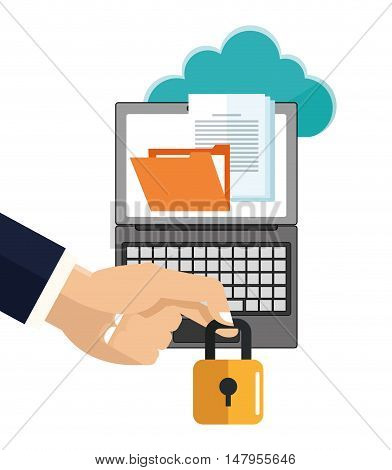 Laptop file and padlock icon. Cyber security system and media theme. Colorful design. Vector illustration