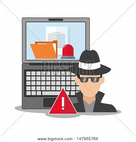 hacker laptop and file icon. Cyber security system and media theme. Colorful design. Vector illustration