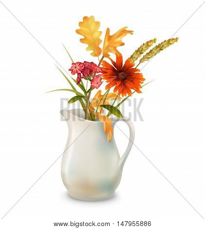 Vector autumn bouquet in ceramic jug with fall leaves and flowers on a white background