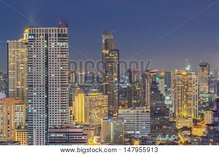 Bangkok financial district business building and shopping mall center at Southeast Asia