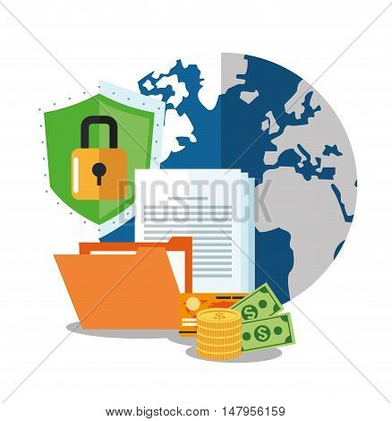 Planet file money document padlock and shield icon. Cyber security system and media theme. Colorful design. Vector illustration