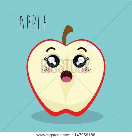 cartoon apple slice fruit facial expression design isolated vector illustration esp 10