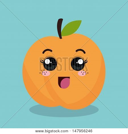 cartoon orange fruit facial expression design isolated vector illustration esp 10