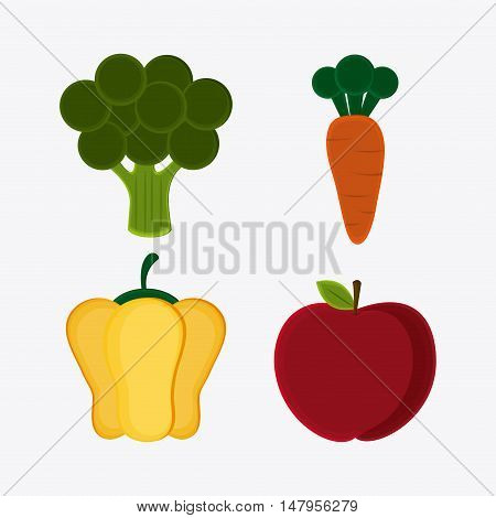 Broccoli carrot pepper and apple icon. Vegetarian cuisine organic and healthy food theme. Colorful design. Vector illustration