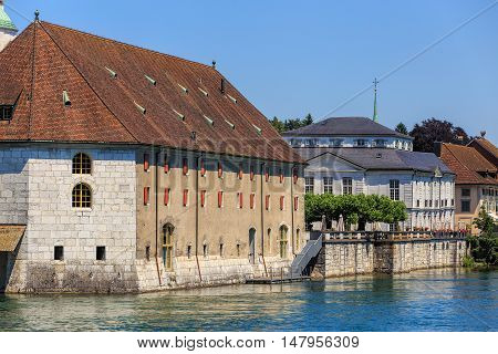 Historic buildings along the Aare river in the city of Solothurn, Switzerland.