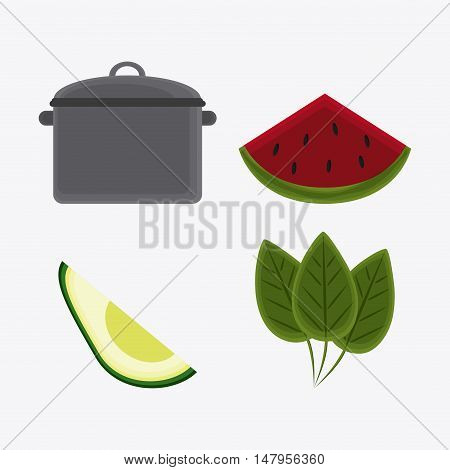 cooking pot avocado leaves and watermelon icon. Vegetarian cuisine organic and healthy food theme. Colorful design. Vector illustration
