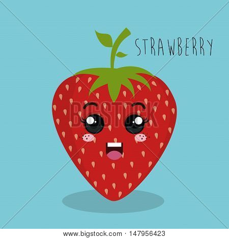 cartoon strawberry fruit facial expression design isolated vector illustration esp 10