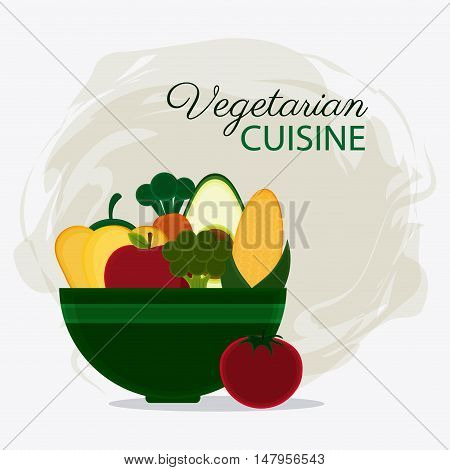 Bowl and vegetables icon. Vegetarian cuisine organic and healthy food theme. Colorful design. Vector illustration
