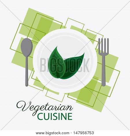 Plate leaf and cutlery icon. Vegetarian cuisine organic and healthy food theme. Colorful design. Vector illustration