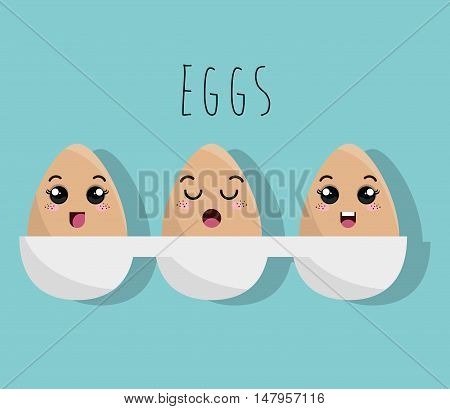 cartoon cooked eggs design isolated vector illustration eps 10