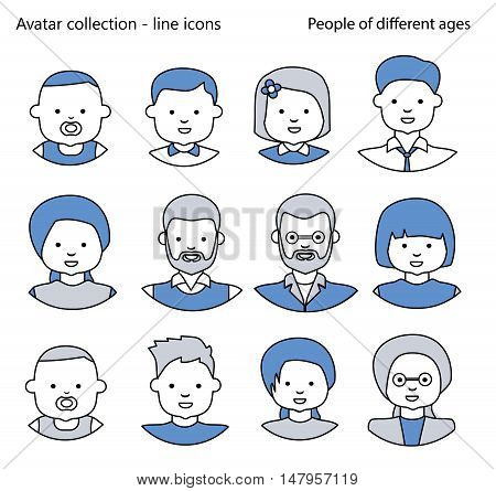 Set of Icons people avatars for profile page, social network, social media. People generations at different ages. Line icons