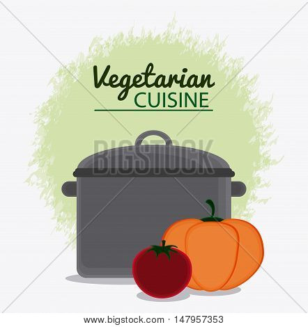Cooking pot and vegetables icon. Vegetarian cuisine organic and healthy food theme. Colorful design. Vector illustration