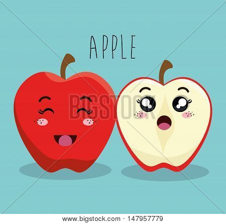 cartoon apple fruit facial expression design isolated vector illustration esp 10