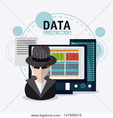 Hacker thief and computer icon. Data protection cyber security system and media theme. Colorful design. Vector illustration