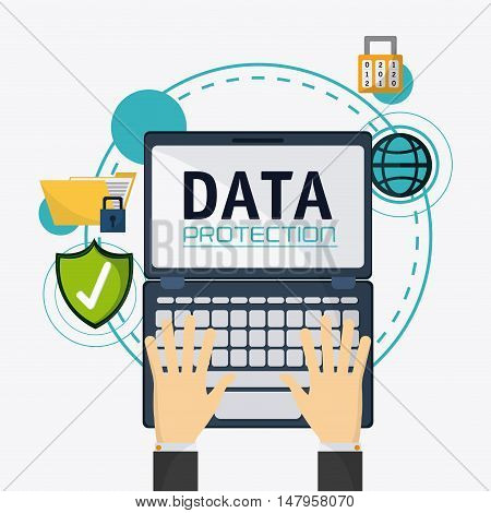 Laptop shield file and padlock icon. Data protection cyber security system and media theme. Colorful design. Vector illustration