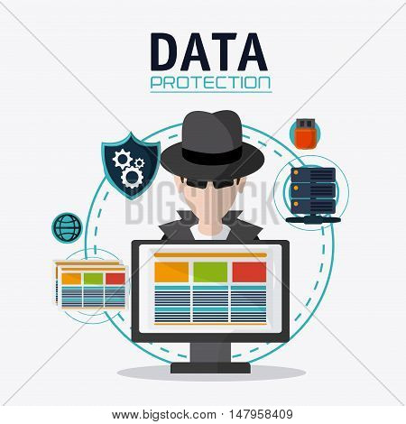 Hacker thief shield usb gears and computer icon. Data protection cyber security system and media theme. Colorful design. Vector illustration