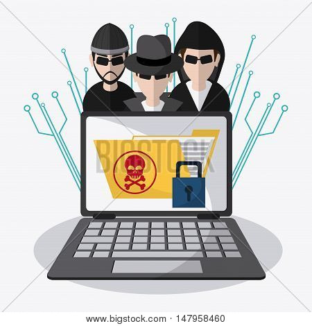 Hacker thief file padlock and laptop icon. Data protection cyber security system and media theme. Colorful design. Vector illustration