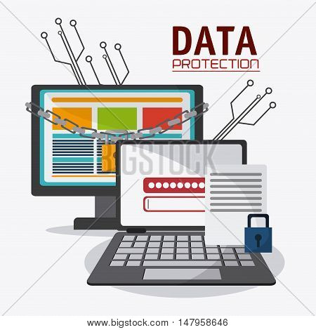 Computer laptop and padlock icon. Data protection cyber security system and media theme. Colorful design. Vector illustration